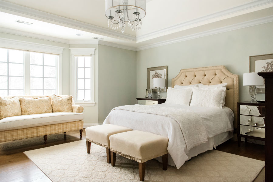 Master Bedroom Upholstered Headboard Transitional Design Colleen Mcnally Interiors